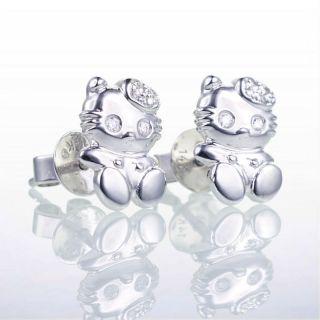 14k Cute Hello White Gold Kitty Diamond Stud Earrings