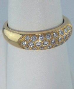 gold 1 2ct round diamond pave dome wedding band fine ring 5mm n433