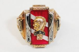 Josten 10K Gold 1969 Del Valle High School Class Ring
