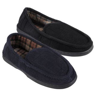 Daxx Mens Lined Corduroy Moccasin Slipper Shoes