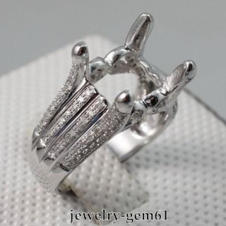 8MM Solid 18Kt White Gold Natural Diamond Semi Mount Engagement Ring