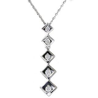 Diamond Journey Pendant Elegant Womens 14k White Gold Drop Necklace