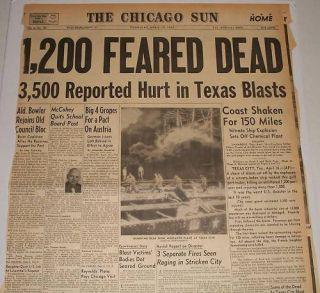 Chicago Newspaper April 17 1947 Texas City Explosion