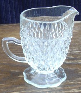 Diamond Point Design Glass Pitcher Collectable 1960s Vintage Indiana