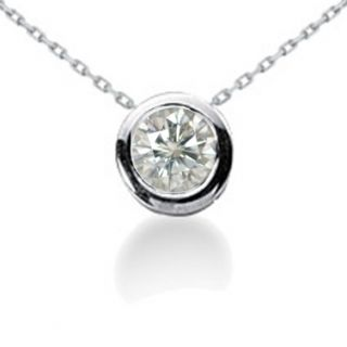 Diamond Solitaire Pendant Brilliant Cut 14k White Gold Necklace