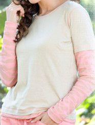 Koi Delia Pink Camel Tan Mock 2pc Zebra Thermal Long Sleeve T Shirt