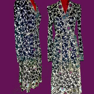 Diane Von Furstenberg Silk Jersey Wrap Dress Sz 10 Chic Ethnic Bokhara