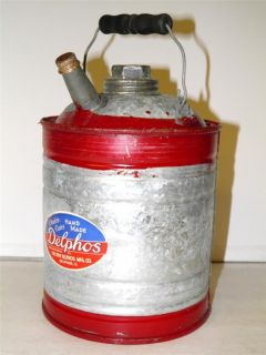 Vintage 1940s 1 Gallon Delphos Gas Can Old Store Stock