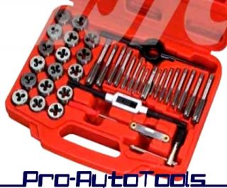 40pcs Tap and Die Set Wrench Screw Driver Pitch Gauge