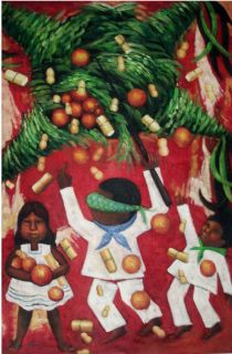 Diego Rivera La Pinata 24x36 Reproduction Oil Painting