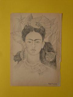 Diego Rivera Signed Pencil Sketch of Frida Kahlo Portrait