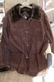 Dennis Basso Womens Brown Winter Jacket Coat w Faux Fur Lining Plus