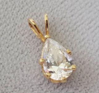 Vintage 14k Yellow Gold Set Pear Shaped Dimond Pendant