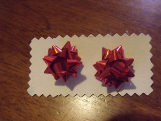 Holiday Earrings Red Christmas Bows Studs