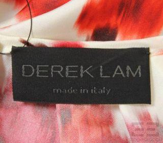 Derek Lam White Red Abstract Print Silk Blouse Size 6
