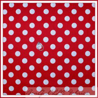 BonEful Fabric FQ Disney Minnie Mouse Red White Polka Dot Vtg Large