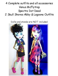 Spectra, Venus, Skull Shores 4 Brand NEW Outfits Monster High Doll