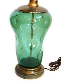 Vintage 1950s Blenko Glass Dimpled Design Table Lamp