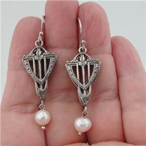 Hadar Designers Israel Handmade Fab Silver Pearl Long Earrings (AS