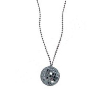Funky Disco Mirror Ball Necklace Retro Party DJ Jewelry