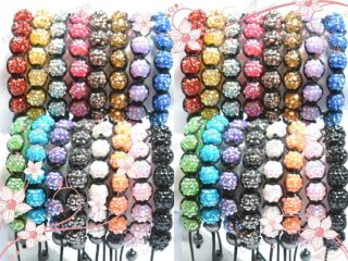 New 16pcs AB Disco Ball Charms Friendship Charm Bracelets Beads Bangle