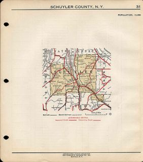 County New York Authentic Vintage Map Watkins NY Made in 1919