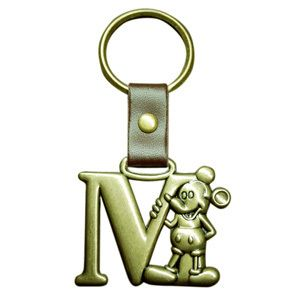 Disney Mickey Mouse Brass Key Ring Key Chain Letter M