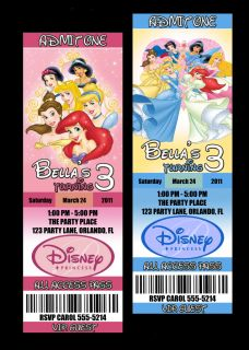 custom disney princess invitation tickets digital file only