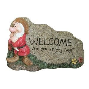 Disney Garden Rock Lawn Ornament Welcome Sign Statue Outdoor Grumpy