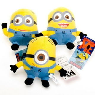 3pcs Despicable Me Movie Plush Toy 6 Minion Jorge Stewart Dave with