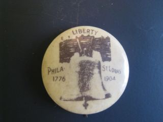 VTG 1904 ST LOUIS WORLDS FAIR CELLULOID SOUVENIR PIN PINBACK PHILA