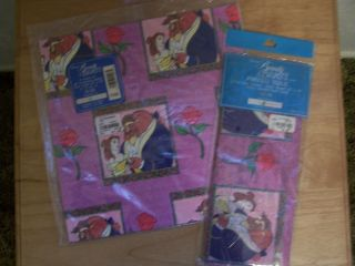 Rare DISNEY Beauty and the Beast gift wrapping paper tissue paper NEW