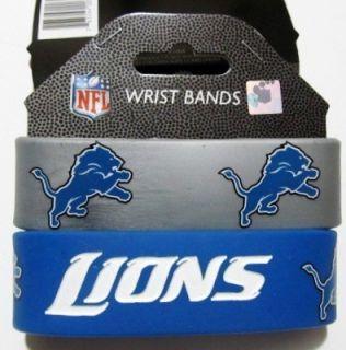 NFL Detroit Lions Football Silicone Rubber Wrist Bands Bracelets Set