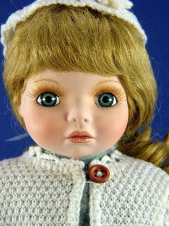 Delton 16 Porcelain Doll Nora w White Knit Sweater Box