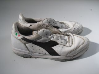 Diadora White Leather Brown Logo Soccer Tennis Shoes Mens 9 5M 9 1 2 M
