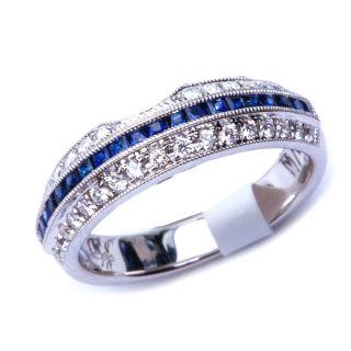 71CT D VS1 Beutiful Blue Sapphire & Round Diamond Wedding Band