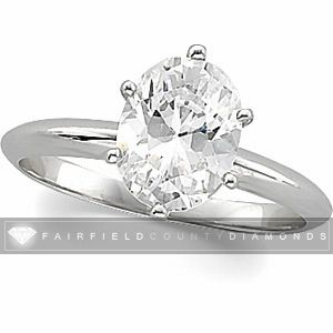 51 CT OVAL Diamond Solitaire Engagement Ring   14K White Gold