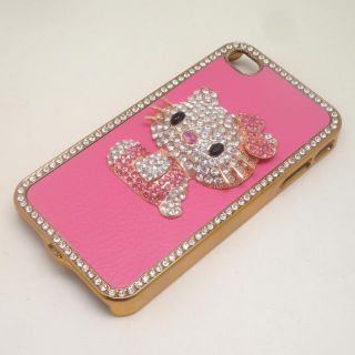 Pink Leather Bling Cute Kitty Crystal Hard Case Cover Skin for iPhone4