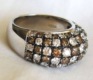 18K White Gold White Brown Diamond Pave Dome Ring