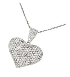 Vintage Diamond Jewelry 14k White Gold Heart Pendant Necklace