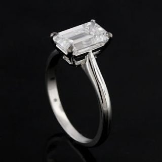 Diamond Emerald Cut Solitaire 14k White Gold Engagement Ring Mounting