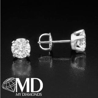 Ct White Gold 14k Natural Certified Round Diamond Ear Stud Earrings