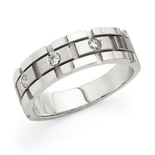 White Gold Mens Band Diamond Ring Total Carat Weight 0 15cttw