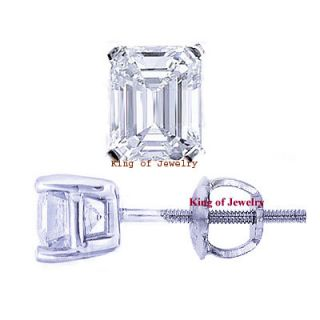 00 Ct Emerald Cut Diamond Stud Earrings 14k Gold