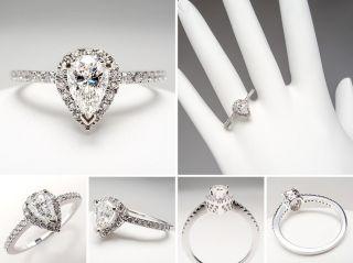 vs pear cut diamond halo engagement ring 14k white gold sku dia1003