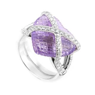 18K White Gold Diamond Amethyst Heart Ring