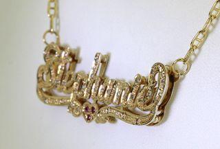 35CT DIAMOND RUBY & 14K YELLOW GOLD STEPHANIE NAMEPLATE MARINER CHAIN