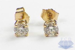Diamond Stud Earrings 14k Yellow Gold 4 Prong 1 2 Carat Studs