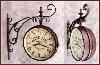 Dodge City Train Station Wall Clock Double Sided w Ornate Wall Bracket