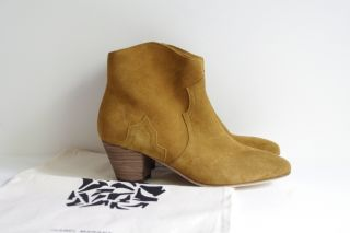 ISABEL MARANT Dicker CAMEL Tan Light Brown western ankle Boots Shoes
